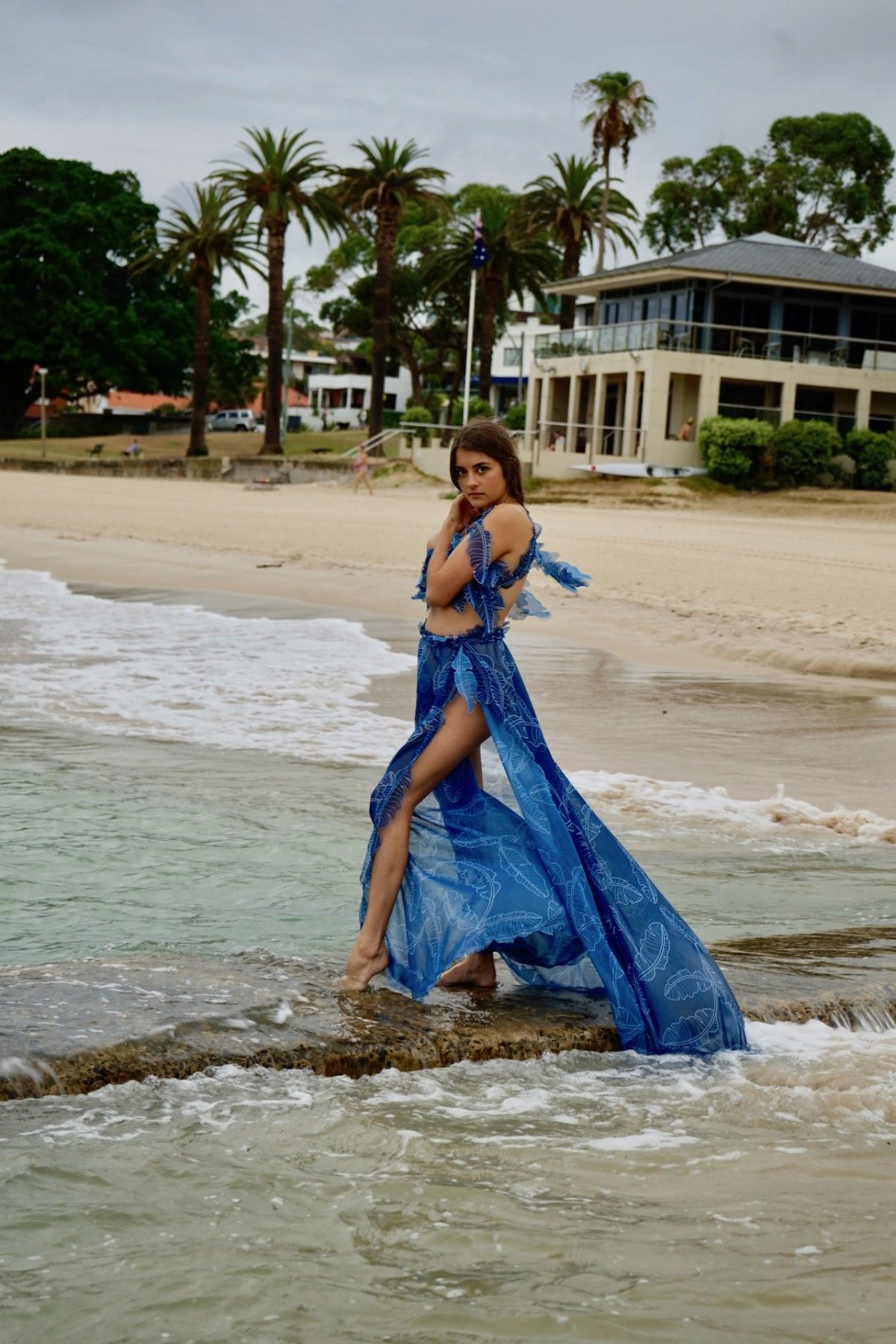 Blue palm top and skirt dress set product image